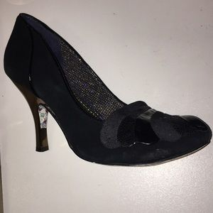 Irregular Choice Black Suede Royal Marriage Pumps
